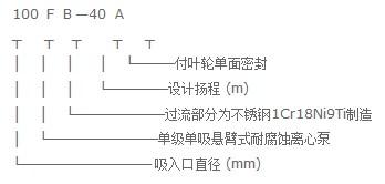FB型耐腐蚀离心泵型号意义